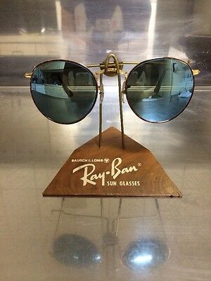 vintage ray ban bausch and lomb  vintage ray ban bausch and lomb blue mirror lens tortoise round 52mm sunglasses