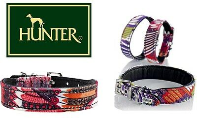 Hunter Tropical Leather Textile Dog Puppy Collar Halsband **ALL SIZES **