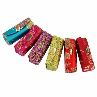 Hot Flower Design Retro Lipstick Case Brocade Embroidered Holder Box with Mirror