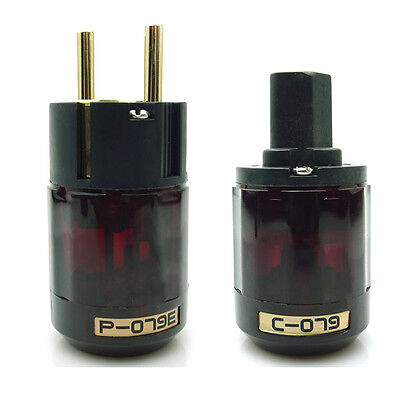 NEW P-079e + C-079 IEC Gold Plated Schuko EU Power Plug For Audio Cable One Pair