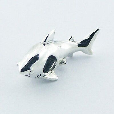 Silver bead Shiny Shark 22mm long 925 sterling silver for charm bracelet new