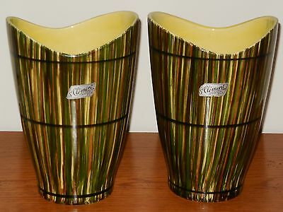 Gorgeous PAIR OF VINTAGE VASES ART DECO design made ST CLEMENT pottery FRANCE