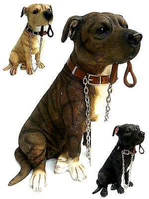 Staffordshire Bull Terrier with Chain Dog Ornament Figurine Statue New Boxed