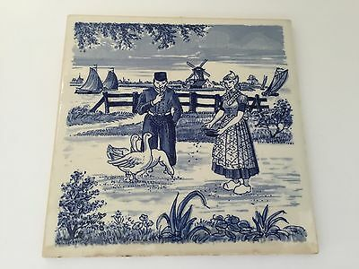 """Vintage 1950s Delft-Style Kitchen Tile- 5 7/8"""" square- Couple feeding GEESE (S2)"""