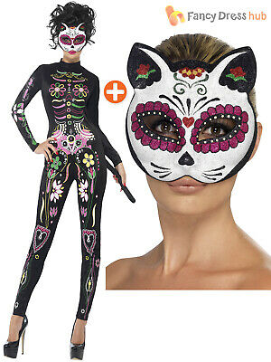 Ladies Sugar Skull Cat Jump Suit  Halloween Fancy Dress Day Of The Dead Costume