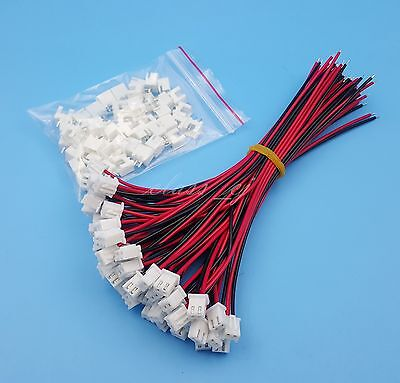 50Sets XH2.54 Single-Head 2Pin Wire To Board Connector 15cm 24AWG With Socket
