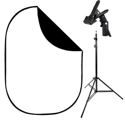 1.5x2m Black/White Collapsible Background,Stand & Clamp Kit portrait photo video