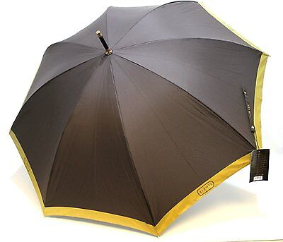 Aramis Classic Mens Brown With Gold Edge Large Golf Umbrella New With Tags
