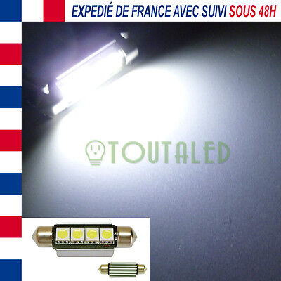 Ampoule Lampe Navette C10W 42Mm 12V 4 Led 5050 Anti Erreur Canbus Odb Plaques