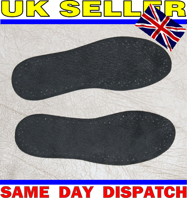 SOFT Real Leather BLACK Odor Stop SHOE Insoles Active Carbon NON-FOLDING CHEAP