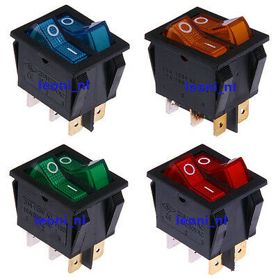 Illuminated 12V & 230V On/Off Rocker Double Switch Red Blue Green Yellow DPDT