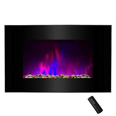 "36"" Tempered Glass Heat Wall Mount Adjustable LED Log 2-in-1 Electric Fireplace"