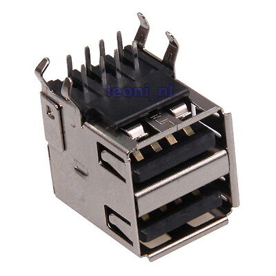USB Type A Female 5-pin Double Socket SMT SMD Solder Assembly Connector Mounting