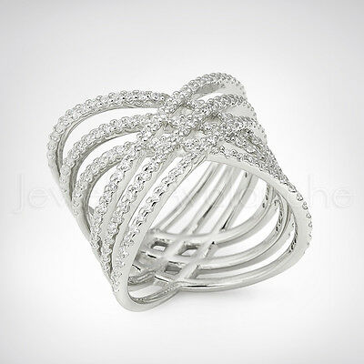 Ladies Knuckle Rhodium Plated .925 Sterling Silver Multi Crisscross X Ring #574W