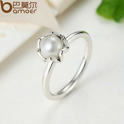 New Size 7-8 Authentic S925 Sterling Silver Ring With Pearl Retro Luxury Jewelry