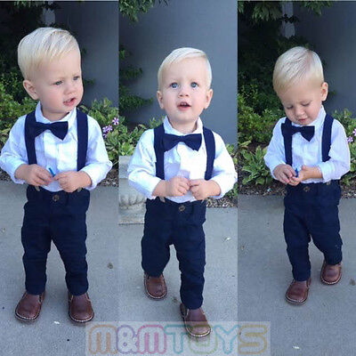 New Matching Clip-on Suspender + Bowtie for Kids Toddler Boys Girls w/ Gift Box