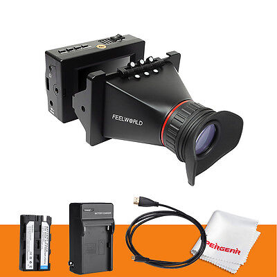 "Feelworld EVF 3.5"" LCD Electronic HDMI SDI ViewFinder F BMCC BMPCC BMPC +Battery"
