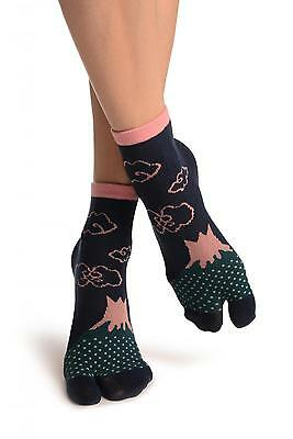 Pink Clouds On Dark Blue Japanese Ankle High Socks (SA002427)