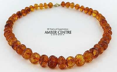 German Unique Hand Carved Baltic Amber Beads - 69GR A0010  RRP£1990!!!
