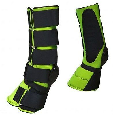 LIME GREEN Adjustable Neoprene Combination Bell Boot! NEW HORSE TACK!