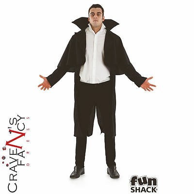 Adult Black Vampire Costume Cape Mens Count Dracula Halloween Fancy Dress Outfit