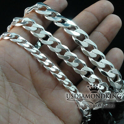 Men's Womens Real Sterling Silver 925 Cuban Curb Link Bracelet 7mm ~ 11mm 9~9.5""