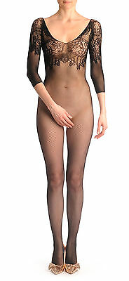 Fishnet Bodystocking With Floral Lace Top And Quarter Sleeves (BS001228)