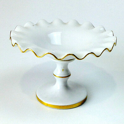 Vintage Ruffled Pedestal Milk Glass and Gold Compote Candy Dish Made in Portugal