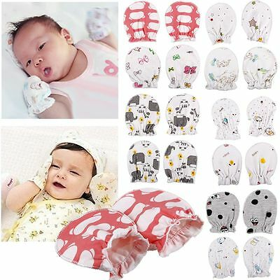 2 PAIRS Baby Infant New Born Anti Scratch Mittens Soft Cotton Gloves Handguard