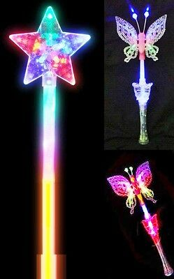 S Led Flashing Fairy Butterfly Star Wand Light Up with Music XMAS PARTYGIFT