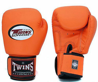 TWINS SPECIAL MUAY THAI BOXING GLOVES Orange 8oz 10oz 12oz 14oz 16oz