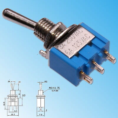 MTS-113 Miniature Toggle Switch SPDT ON-OFF-MOM 3-poles 3-positions
