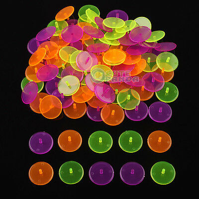 New 100 x Mixed Colourful Plastic Transparent Golf Ball Position Markers Round