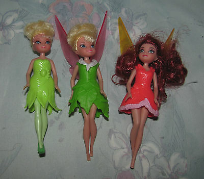 Disney Tinker Bell Fairy Fairies Lot 3 - Tink & Rosetta - Removable Clothes