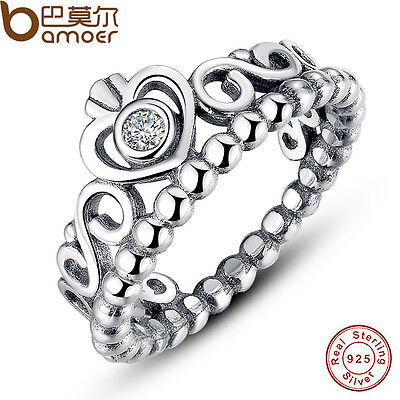 Authentic S925 Sterling Silver Crown Ring With Crystals Luxury Jewelry Size 7-8