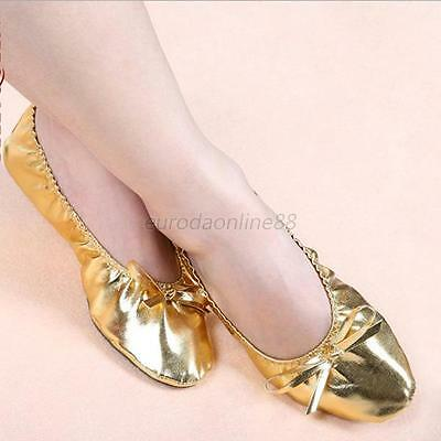 New Lady Girls Golden Color Imitation Leather Shoes Anklets Belly Dance 7 Sizes