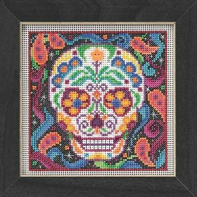 Sugar Skull Halloween Beaded Counted Cross Stitch Kit Mill Hill 2015 Buttons & B