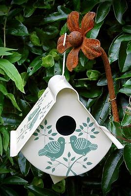 Hand Painted Fair Trade Bird House. Lolita Design Cream And Green.