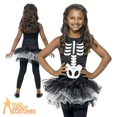 Child Skeleton Tutu Costume Girls Halloween Fancy Dress Outfit New Kids Age 4-12