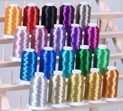 New ThreadsRus 20 METALLIC CONES EMBROIDERY THREADS FOR computerised MACHINES. F