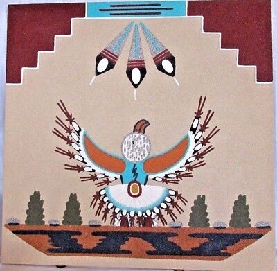 """Authentic Navajo Native American Sand Painting """"Eagle Dancer"""" Signed R. Watchman"""