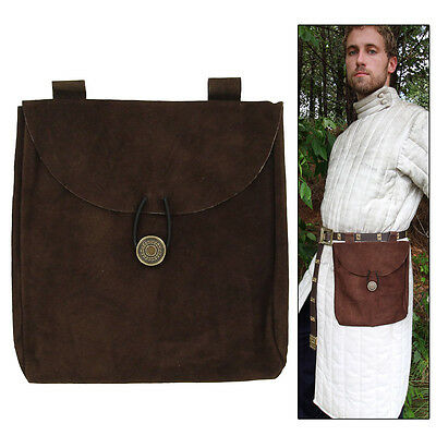 Medieval Renaissance Leather Brown Suede Pouch Large