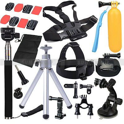 Accessories Set Kit Monopod Head Chest Strap For Gopro Hero 1 2 3 3+ 4 SJ4000