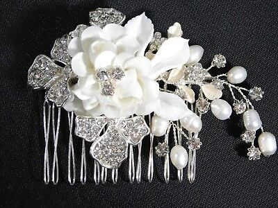 Bridal Silver Hair Comb Ivory Satin Flower Rhinestone Freshwater Pearl /0274