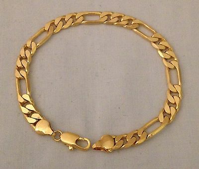 Authentic 9k Gold Filled Bracelet Curb Figaro Link Chain 7mm x 21.5cm + Bag A1