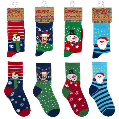 4 Pairs Children Kids Boys Girls Christmas Novelty Socks Festive Stocking Filler