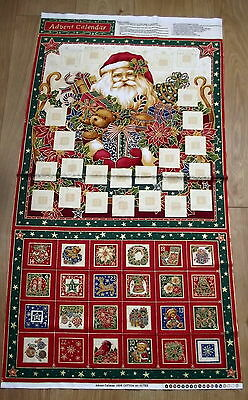 "Santa & Teddies Christmas Advent Calendar Panel 24"" x 44"""