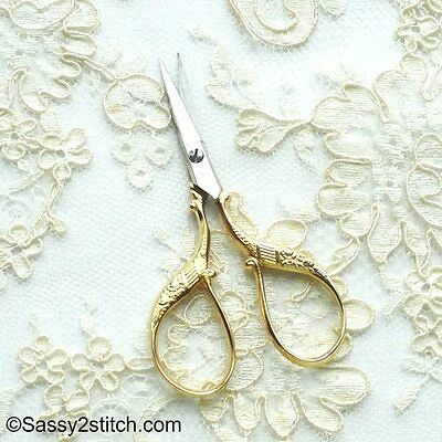 """WASA Solingen 3-1/2"""" Floral Embroidery Scissors-Gold"""
