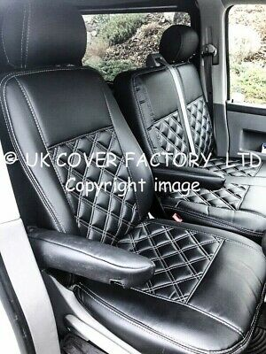 Vw Transporter T5 Van Seat Covers Black Bentley Stitch Leather X150As