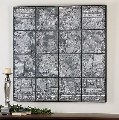 """Large 48"""" Paris City Map Print Wall Art On Back Of Antiqued Mirror Wood Frame"""
